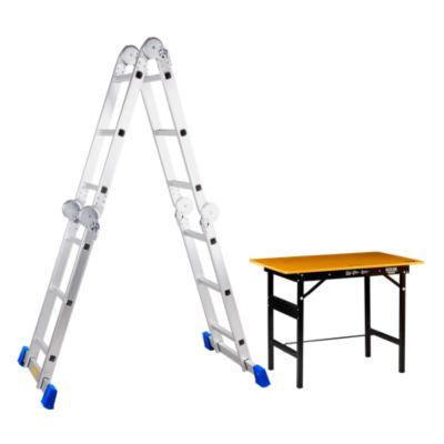 Combo Escalera Multipropósito 12 Pasos Aluminio + Mesa Multiusos de 100x60x75.5cm