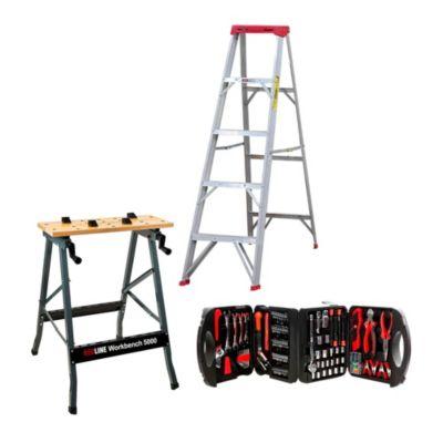 Combo Escalera Tijera 5 Pasos + Banco de Trabajo Multipropósito + Herramientas x 116 Piezas