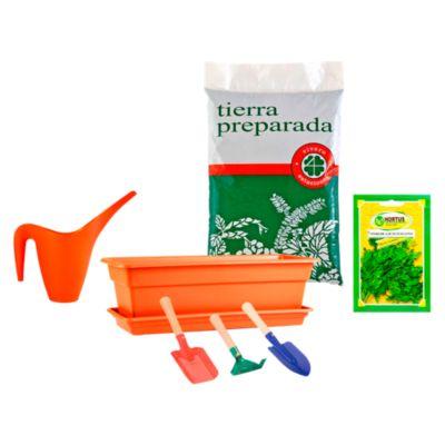 Combo Macetero Durakotta 18.4 x 45.7 x 14.7 cm + Hierba aromática Perejíl lacio Italiano + Tierra preparada 2 kg + Regadera Multicolor 1L + Set de 3 herramientas