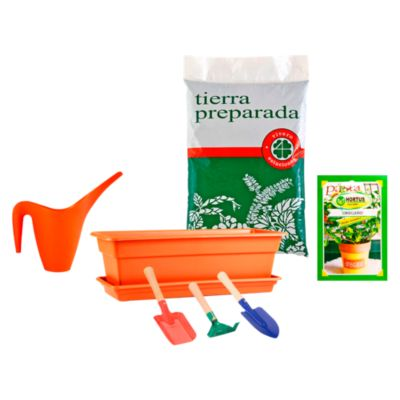 Combo Macetero Durakotta 18.4 x 45.7 x 14.7 cm + Hierba arómatica Orégano + Tierra preparada 2 kg + Regadera Multicolor 1L + Set de 3 herramientas