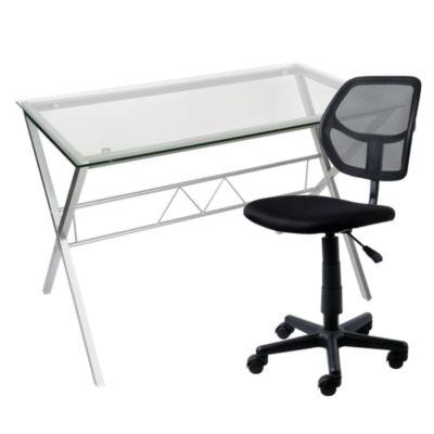 Combo Escritorio de vidrio plata + Silla de oficina Avignon negro