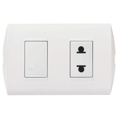 Interruptor + Toma Universal Modus Style Blanco