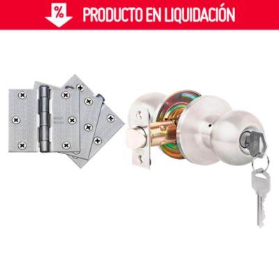 Kit Cerradura Dormitorio + 3 Bisagras