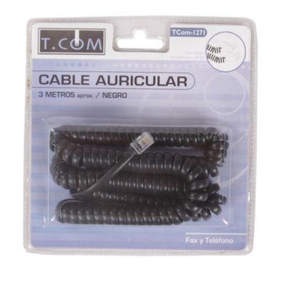 Cable Auricular para Teléfono Negro 3 m