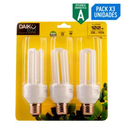 Pack x3 Foco Ahorrador Tubular 20W E27 Luz Amarilla