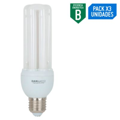 Pack x3 Foco Ahorrador Tubular 20W E27 Luz Blanca