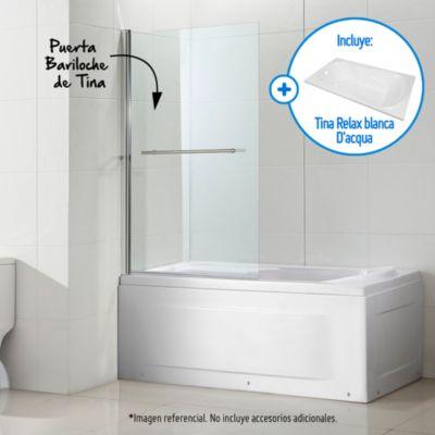 Combo Tina Relax blanca + Puerta Tina Bariloche de Tina 140x90cm