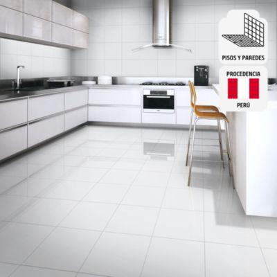 Cerámica Blanco Hielo Marmolizado 45x45cm para piso o pared