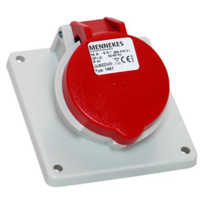 Toma Empotrable 16AMP 3P+T 415V Rojo 6H IP44