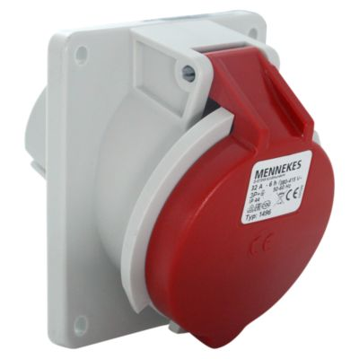Toma Empotrable 32AMP 3P+T 415V Rojo 6H IP44