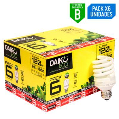 Pack x6 Foco Ahorrador Espiral 20W E27 Luz Amarilla