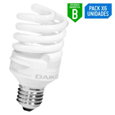 Pack x6 Foco Ahorrador Espiral 20W E27 Luz Blanca