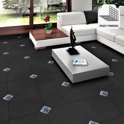 Porcelanato Cemento Negro Rústico 60x60 cm para piso o pared