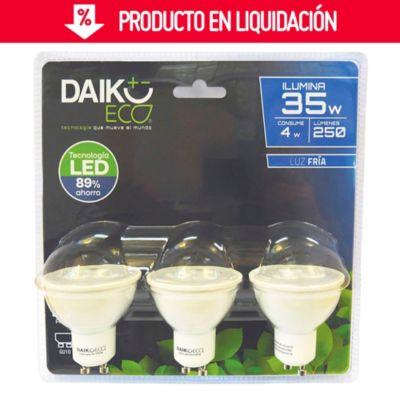 Pack 3 focos Led GU10 4w luz blanca