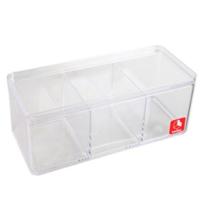 Caja transparente 3 divisiones 21x9cm