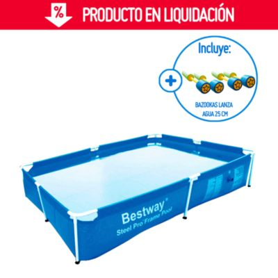 Combo Piscina estructural rectangular 2.28 x 1.59 x 0.42m Bestway + Bazooka lanza agua 25 cm Do It