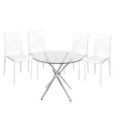 Combo Mesa de vidrio redonda 90cm + 4 Sillas Comedor Abner Blanca
