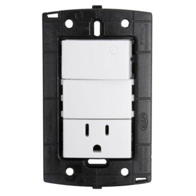 Interruptor + Toma Universal + Tierra Piano/Quadra Blanco