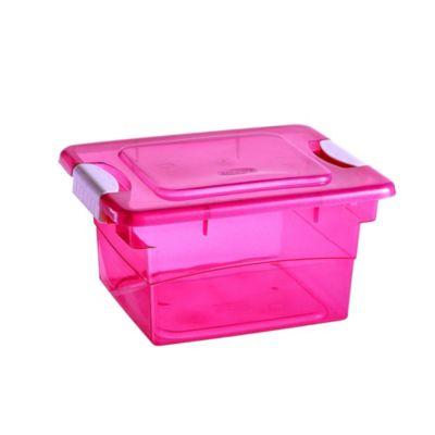Caja organizadora con broche 5L rosada