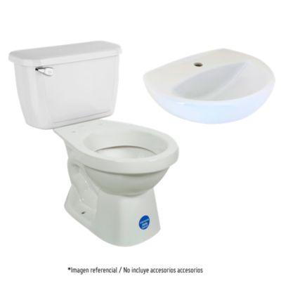Combo Inodoro Acuacer laguna blanco Corona + Estanque Acuacer blanco Corona + Lavamanos Fontana blanco Trebol