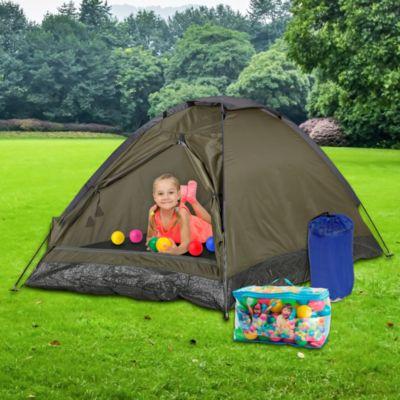 Combo Carpa Iglú Domepack para 2 personas + Bolsa de Dormir Infantil 140x75cm Azul + Caja de 100 pelotitas de colores
