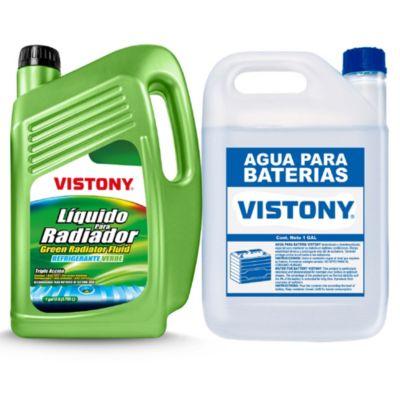 Líquido para Radiador Verde 1 Galon + Agua para Bateria 1 Galon