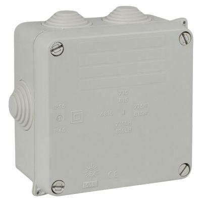 Caja de Pase Libre de Halógeno con Conos 100x100x45mm IP55 IK07 Gris