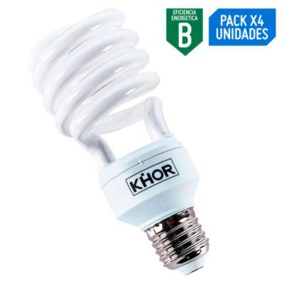 Pack x4 Foco Ahorrador Espiral 26W E27 Luz Blanca