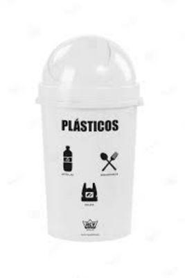 Papelera 80 Cosmos para reciclaje de Plástico 54.4 L Blanco