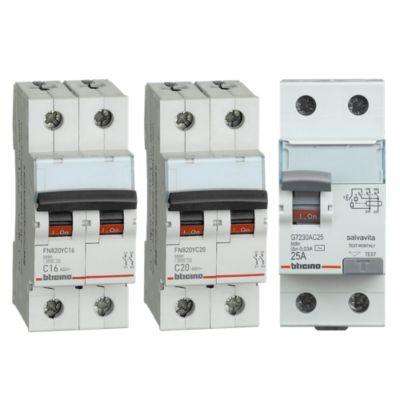 Combo Interruptor Diferencial 25A + Interruptor Tipo Riel Bifásico 16A + Interruptor Tipo Riel Bifásico 20A
