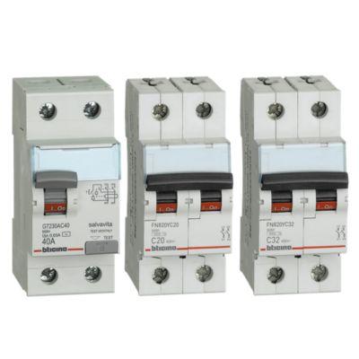 Combo Interruptor Diferencial 2x40A + Interruptor Tipo Riel Bifásico 20A + Interruptor Tipo Riel Bifásico 32A