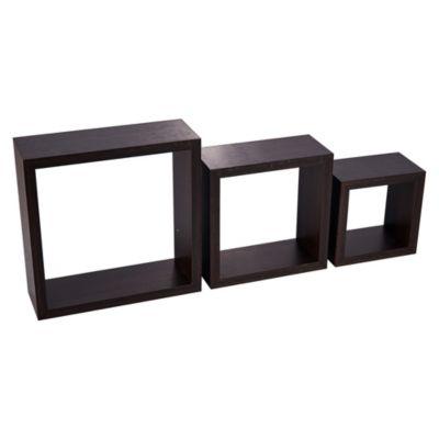 Repisa de Pared x 3 Cubos Nogal 2