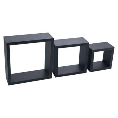 Repisa de Pared x 3 Cubos Negro 2