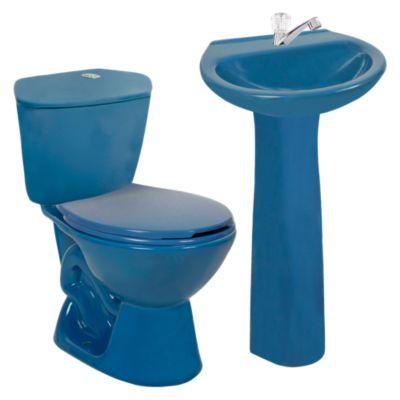 Combo Taza Manantial azul claro + Pedestal Manantial azul claro + Lavamanos Milano azul + Estanque Manatial azul claro + Llave para Lavatorio Baja Málaga FF8253