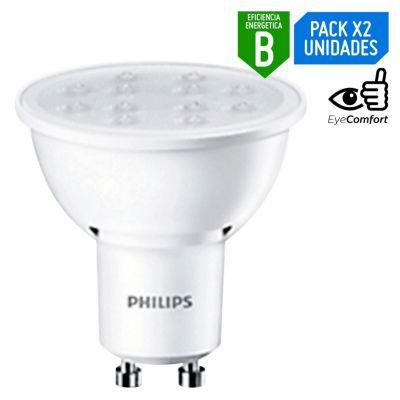 Pack x2 Foco LED Dicroico Gu10 4.6W Luz Amarilla