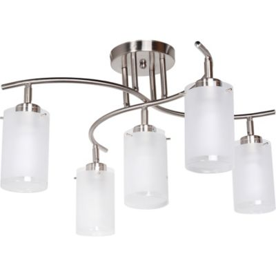 Lámpara de techo cromo vidrio 5 luces