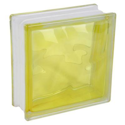 Block Vidrio Olas Amarillo 19 x 19 cm