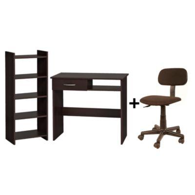 Combo Set escritorio y estante marrón Home Collection + Silla juvenil negra con pistón Karson