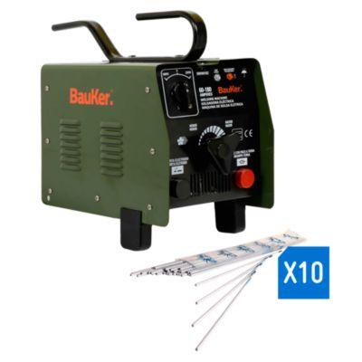 "Combo Soldadora Arco 180A Bauker + Electrodos para Soldadura 1/8"" x 1 kg Punto Azul"