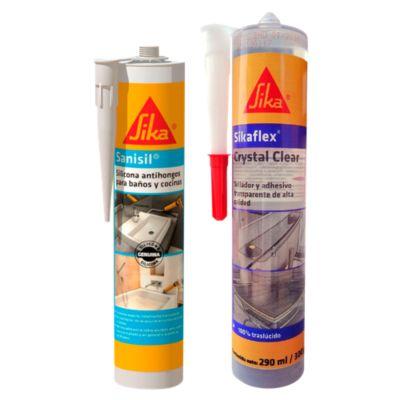 Adhesivo de Alta Resistencia Sikaflex 112 Crystal Clear 290ml + Silicona Antihongos Para Baños Y Cocinas Sanisil Blanco 280ml