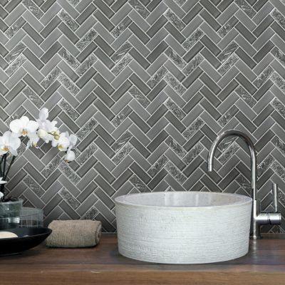 Malla decorativa 30x30cm Herringbone gris