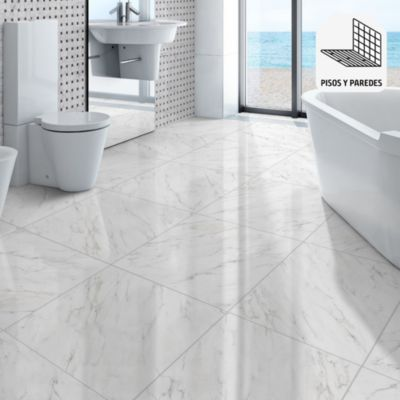 Porcelanato Arezzo Blanco Marmolizado 58x58 cm para piso o pared