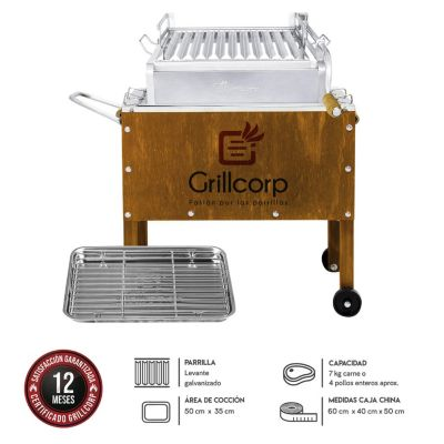 Caja China Junior Premium Caoba + Parrilla con sistema de levante