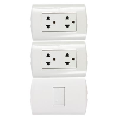 Combo 2 Tomacorrientes Universal Doble 2 Polos + Tierra 15 A Blanco + Interruptor simple 10 A 250 v blanco