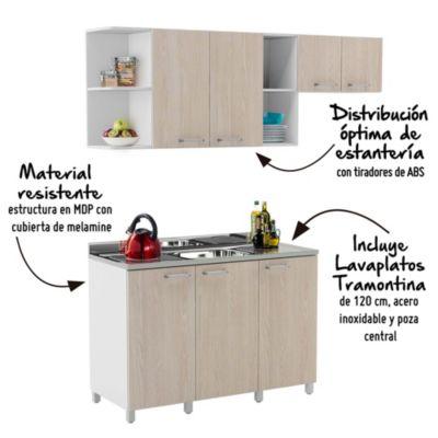 Mueble de cocina Nápoles 180cm + Lavadero de acero inox Tramontina
