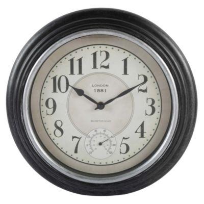 Reloj termómetro negro 31cm