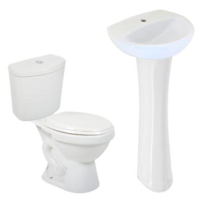 Combo Taza Rapid Jet Premium blanco + Lavamanos Fontana blanco + Estanque Rapid Jet Premium blanco + Pedestal Universal blanco