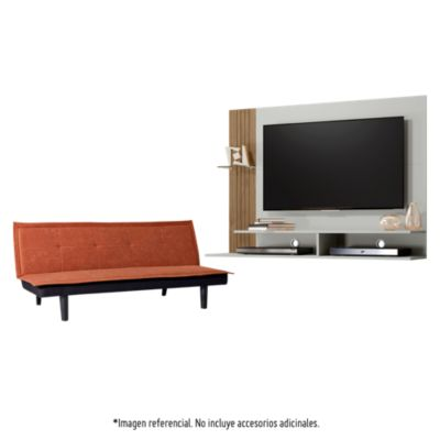 Combo Sofá cama Havana marrón Home Collection + Panel TV Ipe Avellana 42'' Producto Exclusivo