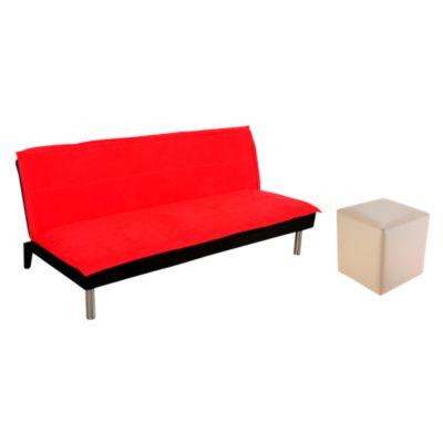 Combo Sofá cama Versalles rojo + Puff Solaro Arena
