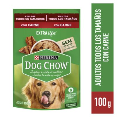 Dog Chow Adultos Trozos Jugosos de Carne 100gr